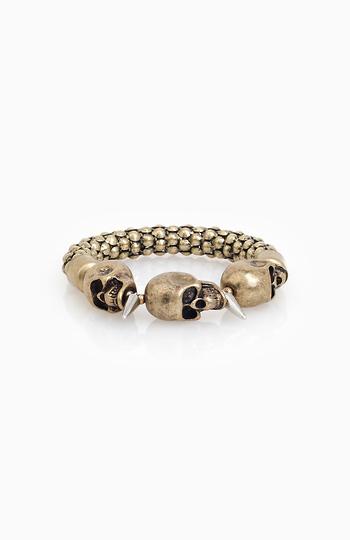 Tri Skull And Spike Bracelet Slide 1