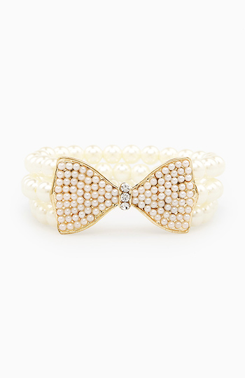 Pearl Beaded Bow Bracelet Slide 1