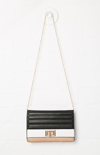 Phoebe Vegan Leather Color Block Shoulder Bag Slide 1