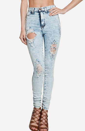 Acid Wash Destroyed Skinny Jeans Slide 1