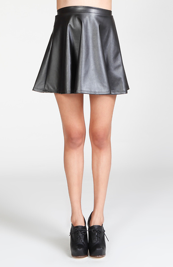Faux Leather Circle Skirt Slide 1