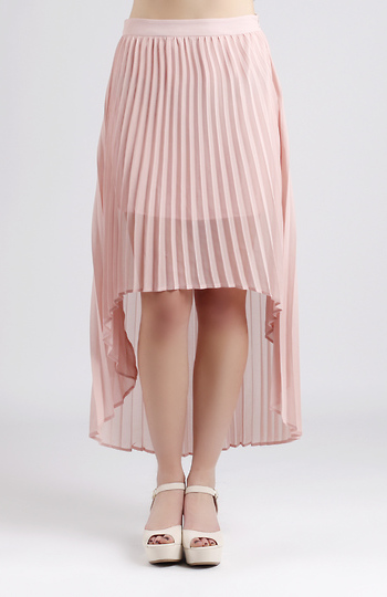 Pleated High Low Skirt Slide 1