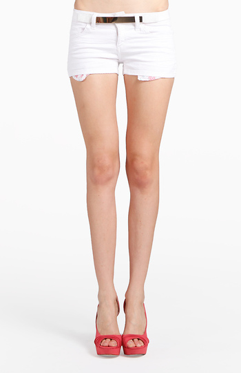 da14958782 White Floral Pocket Denim Shorts by Cello Jeans
