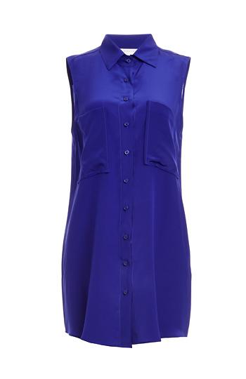 Lavender Brown Sleeveless Button Down Silk Tunic Slide 1