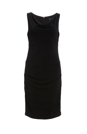 BOBI BLACK Cowl Neck Shirred Dress Slide 1