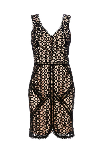 Greylin Oroya Crotchet Lace Bodycon Dress Slide 1