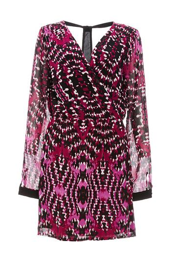 Adelyn Rae T-Back Printed Chiffon Dress Slide 1