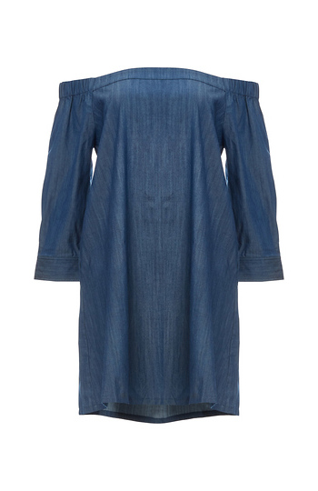 Jonesy Off Shoulder Chambray Dress with Pockets Slide 1