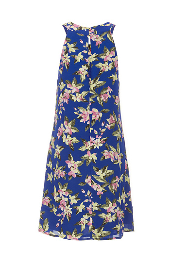 1d622369003 Paradise Wild Flower Mock Neck Dress in Blue Multi L