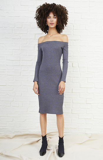 Cindy Ribbed Off Shoulder Knit Midi Dress Slide 1