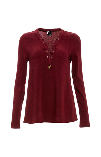 Winona Lace Up Long Sleeve Knit Top Slide 1