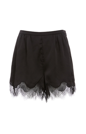 Lilian Lace Trim High Waist Satin Shorts Slide 1