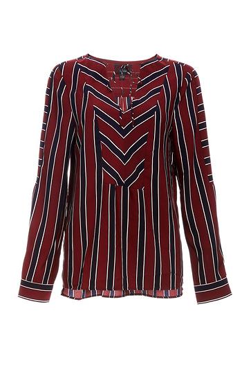 Sensibly Striped Long Sleeve Woven Blouse Slide 1