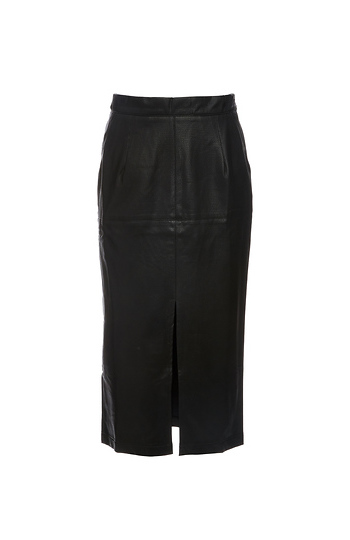 La Reine Miranda Slit Front Faux Leather Midi Skirt Slide 1