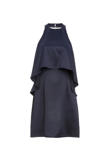 Sarina Satin Halter Flounce Layer Dress Slide 1