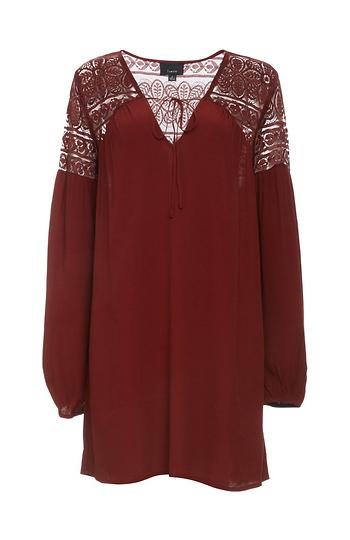 Mirabelle Lace Shoulder Tunic Dress Slide 1