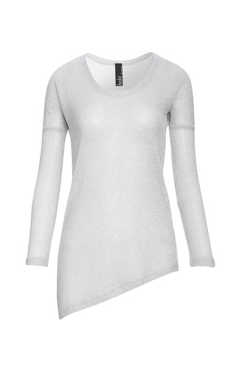 Bobi Mesh Lurex Asymmetric Knit Top Slide 1