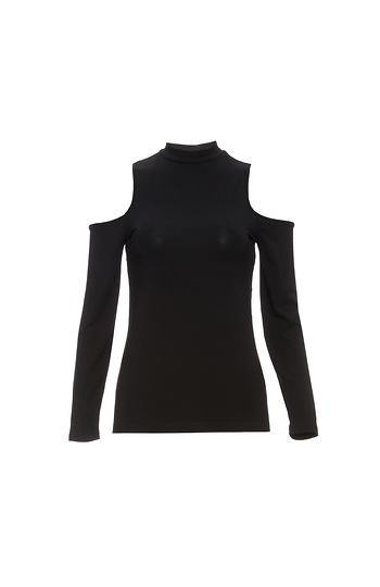 6dea81a2999caa BB Dakota High-Neck Cold Shoulder Knit Top in Black M