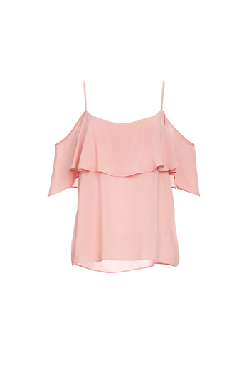 BB Dakota Ruffle Cold Shoulder Strap Top Slide 1