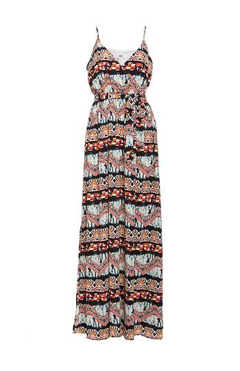 BB Dakota Woven Printed Maxi Dress w/ Tie Slide 1