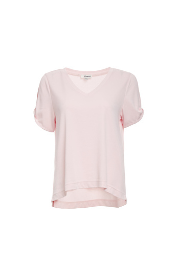 Annabelle V-Neck Split Shoulder Knit Tee Slide 1