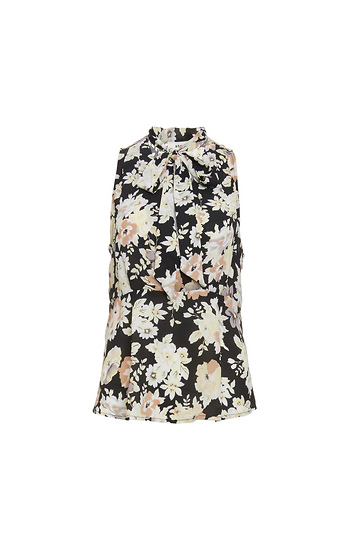 Rohn Sleeveless Floral Blouse w/ Tie Slide 1
