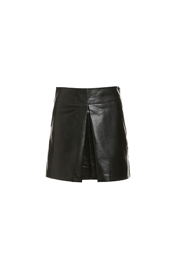 Milah Center Pleat Faux Leather Skirt Slide 1