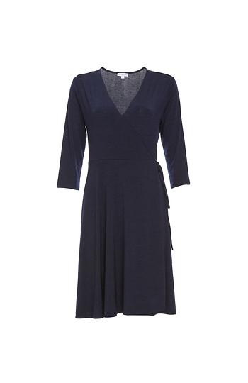3/4 Sleeve Knit Wrap Dress Slide 1