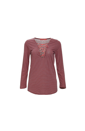 Stateside Long Sleeve Striped Lace Up Knit Top Slide 1