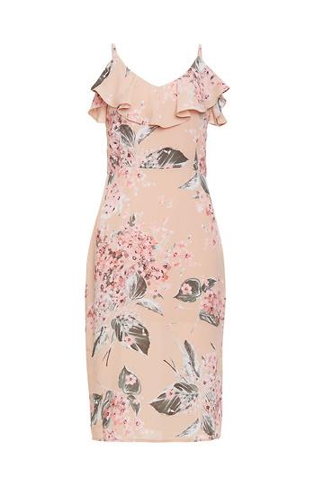 Floral Ruffle Midi Dress Slide 1