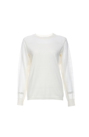 Long Contrast Sleeve Knit Top Slide 1