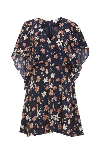 Floral Cape Dress Slide 1