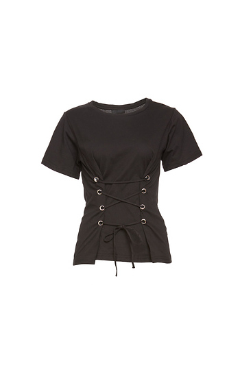 Lace-Up Corset Tee Slide 1