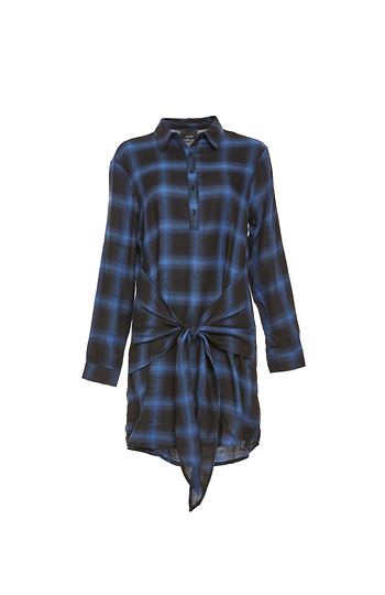 Tied Waist Checkered Dress Slide 1