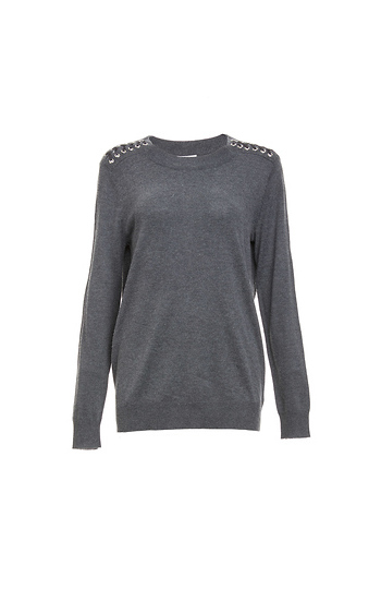 Long Sleeve Lace Up Sweater Slide 1