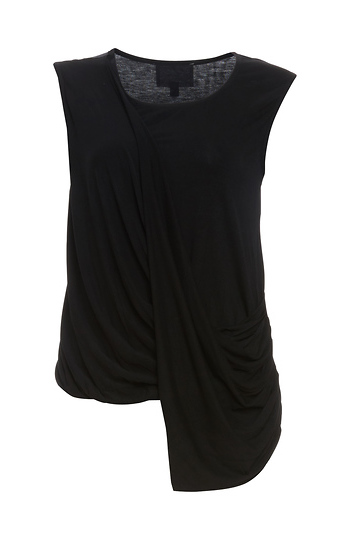700c7c50dbcc1c The Coverii Sleeveless Front Drape Stretch Knit Top in Black