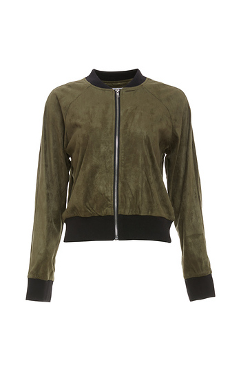 BB Dakota Contrast Edged Faux Suede Bomber Jacket Slide 1