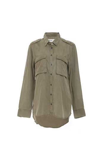 Point Collar Woven Button Up Military Shirt Slide 1