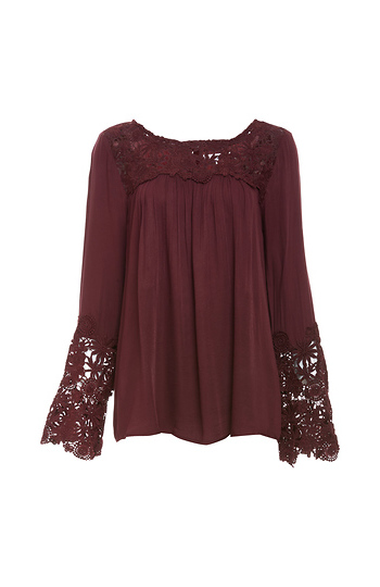 BB Dakota Fluttered Crochet Lace Detail Top Slide 1