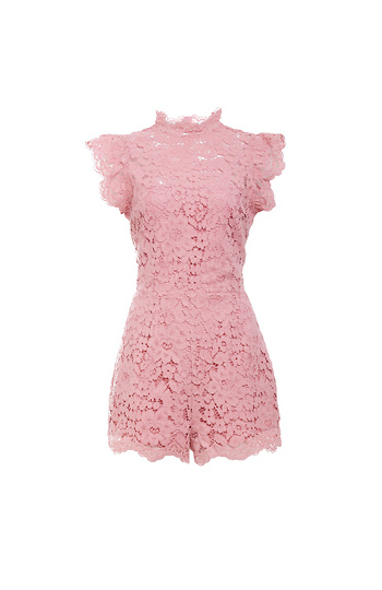 BB Dakota Feminine Scalloped Lace Romper Slide 1