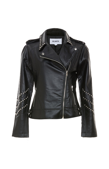 BB Dakota Polish Studded Faux Leather Moto Jacket Slide 1