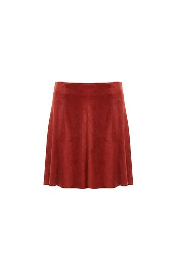 BB Dakota Faux Suede A-line Skirt Slide 1