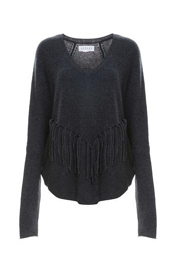 Velvet by Graham & Spencer 100% Cashmere Fringe Front Sweater Slide 1