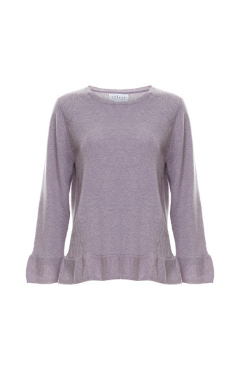 Velvet by Graham & Spencer 100% Cashmere Ruffle Pullover Slide 1