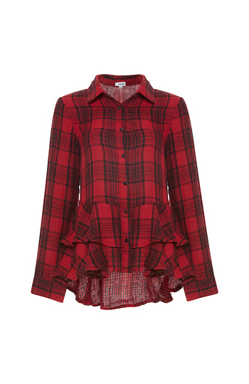 Lake Long Sleeve Plaid Shirt with Ruffles Slide 1