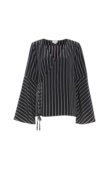 Long Sleeve Striped Bell Sleeve Top Slide 1