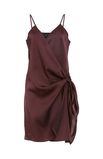 Side Wrap Tie Satin Dress Slide 1