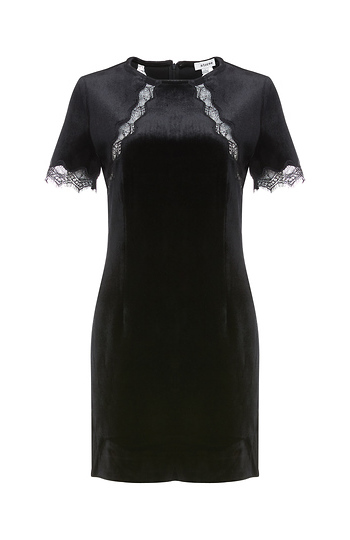 Fitted Lace Sleeve Velvet Dress Slide 1