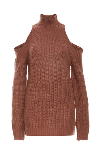 Cold Shoulder Ribbed Turtle Neck Sweater Slide 1
