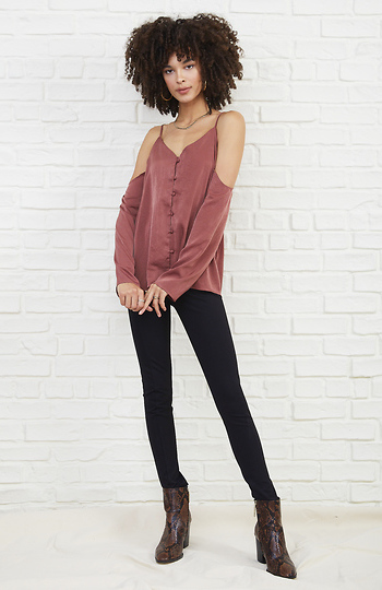 Open Shoulder Button Up Cami Blouse Slide 1